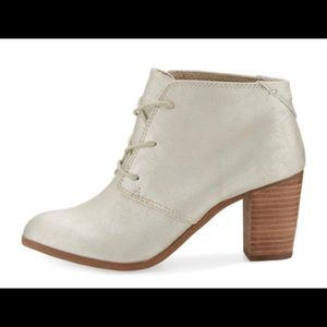 Toms Lunata Faux-Leather Gold Ankle Boots